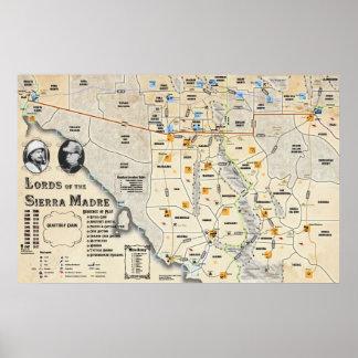 Señores del poster del mapa de Sierra Madre Póster
