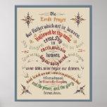 Señores Prayer 1889 de la caligrafía del vintage Poster