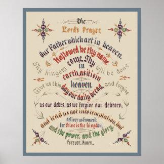 Señores Prayer 1889 de la caligrafía del vintage Póster