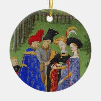 Señores y señoras medievales adorno navideño redondo de cerámica
