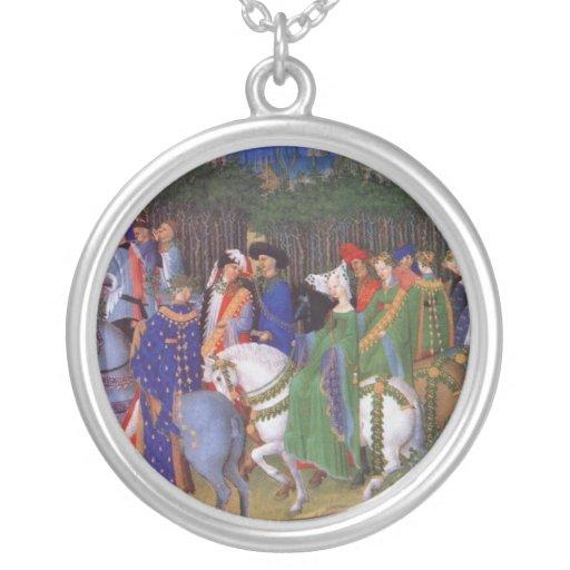 Señores y señoras medievales colgante redondo