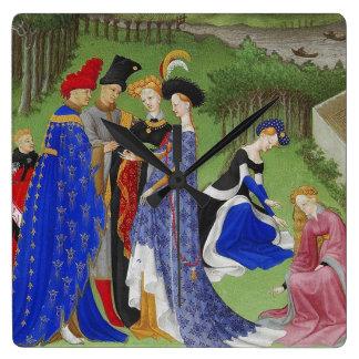 Señores y señoras medievales reloj cuadrado