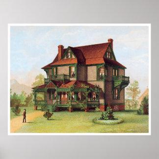 Señorío arreglado verde del Victorian Póster