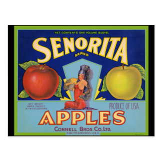 Senorita Apples San Francisco Postcard