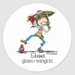 Senorita Sangria Lady Classic Round Sticker