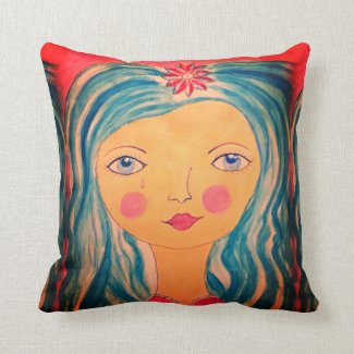 Senorita with Blue Hair on Throw Pillow