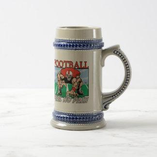 Sensación del fútbol ningún dolor jarra de cerveza