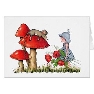 Sensación mejor pronto, arte caprichoso, ratón, tarjeta de felicitación