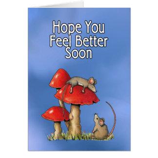 Sensación mejor pronto, arte caprichoso, ratones, tarjeta de felicitación