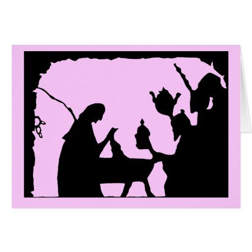 Sensaciones de la silueta, escena 7 del pesebre tarjeta de felicitación