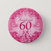 Sensational 60 damask elephant pink button/badge button