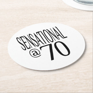 Sensational at Seventy Round Paper Coaster