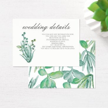 Sensational Succulents Wedding Details Business Card