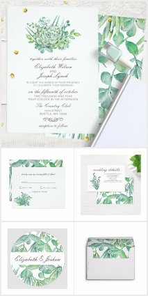 Sensational Succulents Wedding Invitations Set