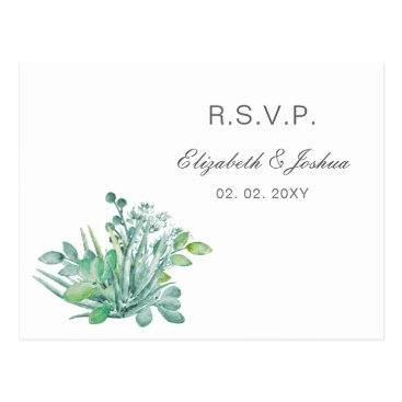 Sensational Succulents Wedding RSVP Postcard
