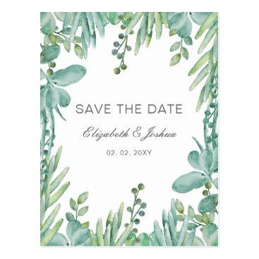 Sensational Succulents Wedding Save the Date Postcard