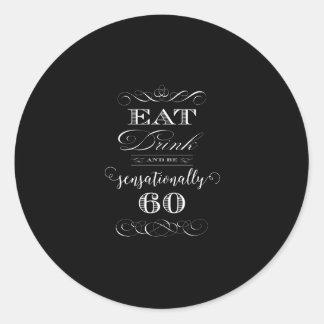 Sensationally 60 Birthday Party Gift Classic Round Sticker