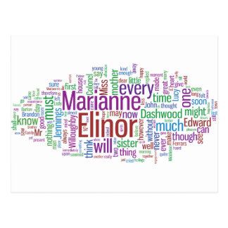 Sense and Sensibility Word Cloud Postcard