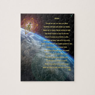 Senses poem, earth, budda, merkaba,  space art jigsaw puzzle