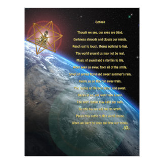 Senses poem, earth, budda, merkaba,  space art letterhead template