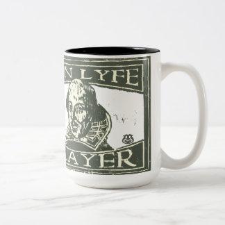 Senseshaper Woodcut: Ren Lyfe Player- Shakespeare Two-Tone Coffee Mug