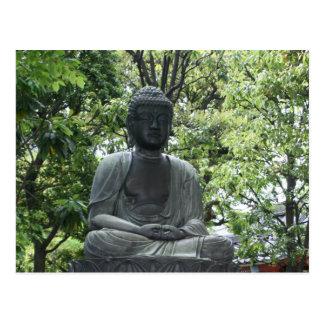 sensō-ji buddha green post card