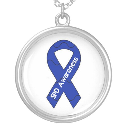 Sensory Processing Disorder Awareness Ribbon Penda Silver Plated Necklace