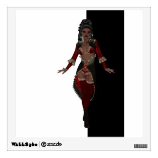 Sensual African American woman in red lingerie Wall Sticker
