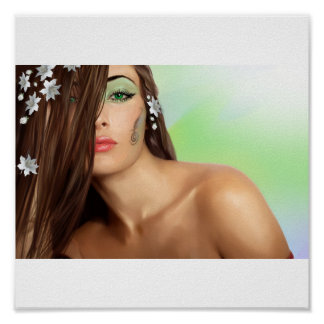 Sensual lady with green eyes poster