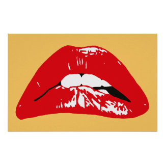 Sensual lips biting retro poster