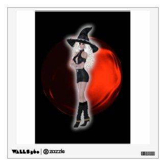 Sensual witch in short mini skirt wall skin