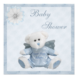 Sent From Above Angel Teddy Boys Baby Shower Invitations