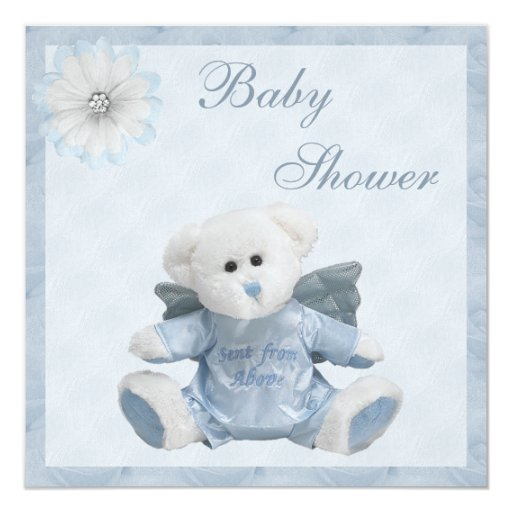 Sent From Above Angel Teddy Boys Baby Shower 5.25x5.25 Square Paper Invitation Card