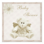 Sent From Above Angel Teddy Neutral Baby Shower 5.25x5.25 Square Paper Invitation Card