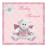 Sent From Above Angel Teddy Pink Baby Shower 5.25x5.25 Square Paper Invitation Card