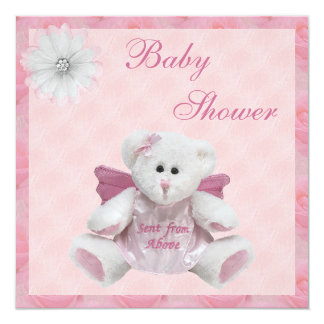 Sent From Above Angel Teddy Pink Baby Shower Invitation