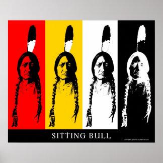 Sentada Bull en multicolor Poster