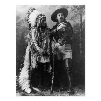 Sentada Bull y retrato de Buffalo Bill a partir de Postal