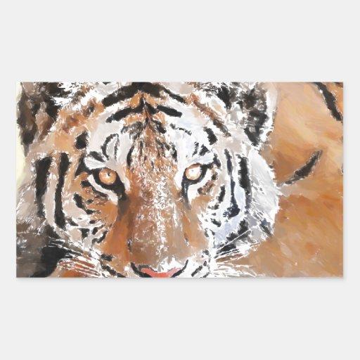 Sentada del leopardo pegatina rectangular
