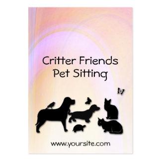 Sentada del mascota de los amigos del Critter Tarjetas De Visita Grandes