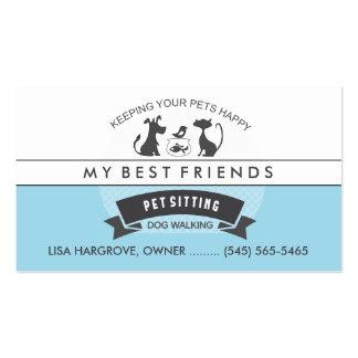 Sentada del mascota y diseño retro azul y blanco tarjetas de visita