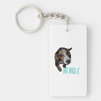 Sentada del perrito del beagle - color de fondo llavero rectangular acrílico a doble cara