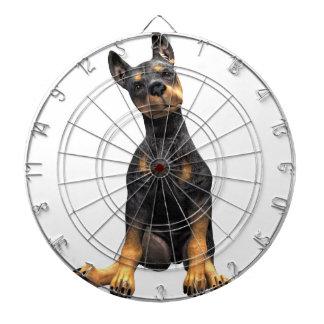 Sentada del perrito del Pinscher del Doberman