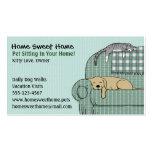 Sentada linda del mascota del perro y del gato - tarjetas de visita