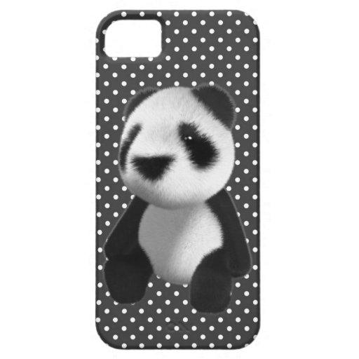 Sentada linda del oso de panda 3d (editable) iPhone 5 Case-Mate cárcasa