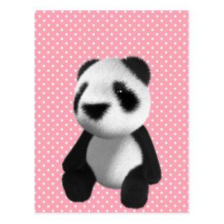 Sentada linda del oso de panda 3d (editable) postal