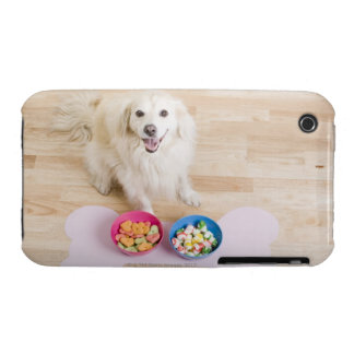 sentada mestiza delante de dos cuencos con el perr Case-Mate iPhone 3 fundas