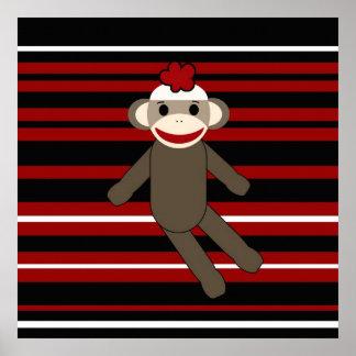 Sentada rayada blanca negra roja del chica del mon póster