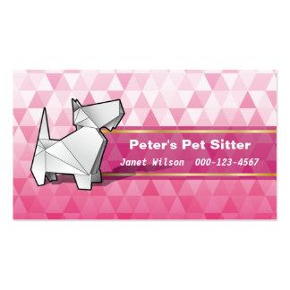 Sentada rosada del mascota del perro de Origami Tarjetas De Visita