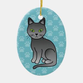 Sentada rusa del gato azul del dibujo animado adorno navideño ovalado de cerámica